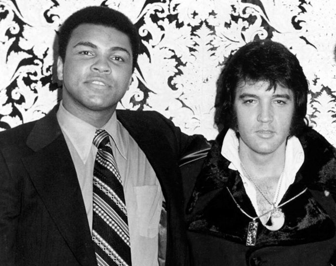 """Muhammad Ali """"The Greatest"""" With Elvis Presley """"The King"""" in Las Vegas February, 1973 - 5X7 or 8X10 Publicity Photo (ZY-192)"""