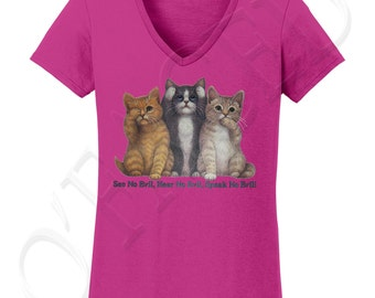 See No Evil Cats Ladies V-Neck T-shirt, See No Evil Cats Tee for Women - 1211C