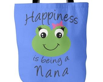 Nana Tote Bag - Happiness is being a Nana - Perfect Gift for Nana - Nana Book Bag