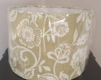 Handmade green and white floral print 30cm drum ceiling shade