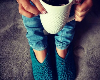 Super Cozy Slippers in Teal