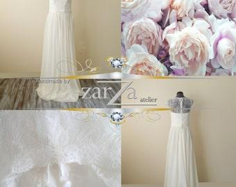 Wedding Dress/Lace Chiffon Cap Sleeves A-Line Wedding Dress/A-Line Bridal Dress
