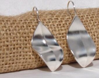 Argentium Silver Leaf Earrings
