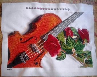 "Bead embroidery on art canvas ""Violin"""