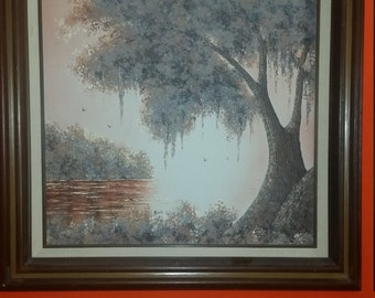 Large Oil on Canvas Painting by C.Lewis Perez 3D Famous Textured Tree Painting Signed