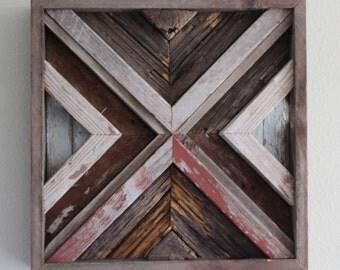 Reclaimed Wood Wall Art, Square, Rustic, Handmade,