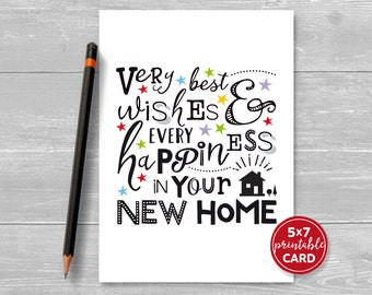 Printable New Home Card   Very Best Wishes U0026 Every Happiness In Your New  Home    Good Luck Cards To Print