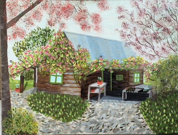 Original Art, Acrylic Painting, Abstract , cottage, flower lovers