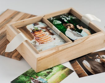 Ambrosia Maple Photo Box, Wooden Wedding Photo Keepsake Storage, Wood Photobox With Dividers