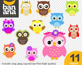 SALE Baby Owls Clipart png jpg svg eps files high resolution BV-CO-0004