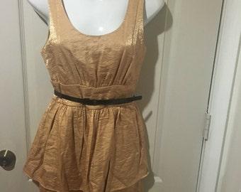 Gold Knee Length Dress.