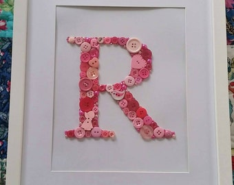 Name, letter, personalised, button art,frame, gorgeous pinks.  Your choice of letter and colours. Perfect birth gift for newborn baby.
