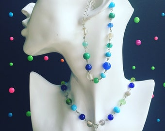 Blue and Green Seashell Chocker Necklace and Anklet Set