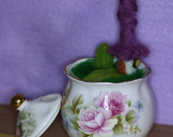 beautiful needle felt fairy house in a china sugar bowl with lid