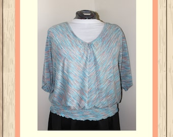 Heather Teal & Orange Billow Top with Cinched Waist