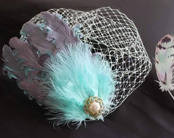 Grey Mint Green Vintage Style Fascinator Birdcage Veil