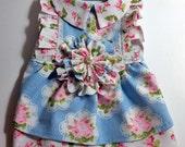 Light Blue with Pink Roses Dog Dress Pet Clothes Pet Dress