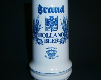 Royal Brand Brewery Holland Hand Made Crazy Ceramic Beer Stein Mug - Excellent Used Condition