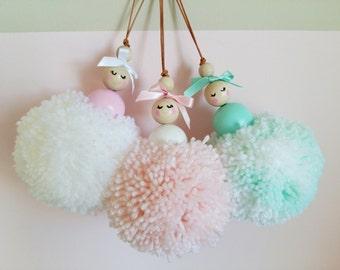 Ballerina Pom-pom, Girls bedroom decor, Nursery decor accessory, wooden beads