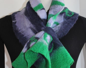 Scarf, felt in blue purple green tones