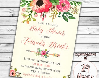 bohemian invitation | etsy, Baby shower invitations