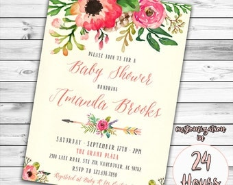 Floral Baby Shower Invitation, Unique Baby Shower Invitation, Boho Baby Shower Invitation, Girl Baby Shower, Feather, Bohemian, Book Instead
