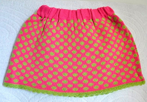 Skirt knit hot pink green Handmade  hand knitted girls Ready to Ship childrens handmade