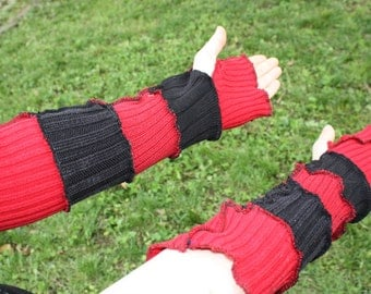 Upcycled Red and Black Armwarmers