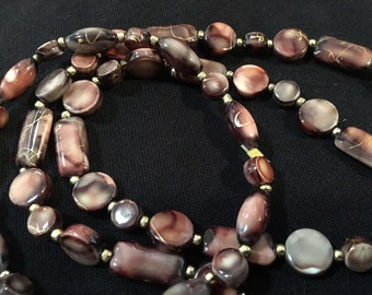 Rich tones of brown and gold necklace and bracelet set
