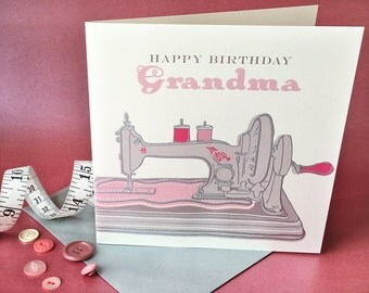 Hand engraved vintage sewing machine greetings card - happy birthday grandma. Blank inside. 150mm x 150mm
