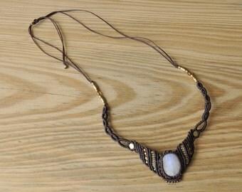Handmade moonstone macrame necklace