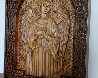 Angel Wood,painting wooden,Art wood carving,Orthodox Christian, Religious Icon, Byzantine