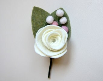 Ivory Felt Fabric Boutonniere for Special Occasion