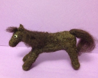 Needle Felted Brown Pony