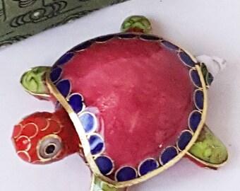 Vintage Oriental Snuff Pill Turtle Enameled Figurine