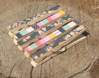 Flowers Stripes Clothespin Magnets Clips Set of 5 Pink Turquoise Black