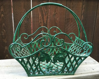 Green Wrought Iron Basket with Handle