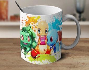 Pokemon mug, Charmander Squirtle Bulbasaur, Pokemon Coffee Mug, Pokemon Anime, Pokemon Watercolor Mug, Anime Coffee Mug, Color Changing Mug