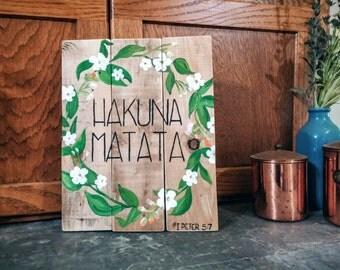 Hakuna Matata Africa Coffee Wood Pallet Sign