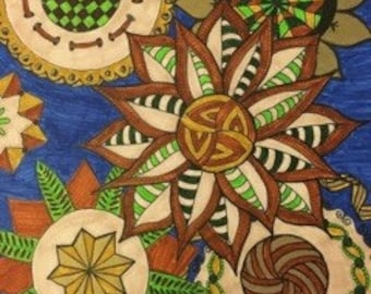 Blue and Brown Zentangle