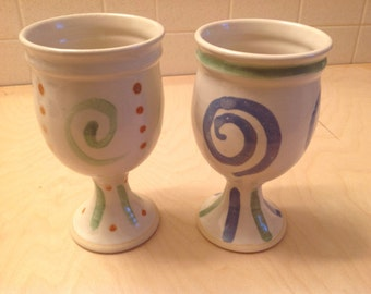 Wheel thrown goblets, pair of goblets, stoneware goblets, purple green and white goblets, pottery goblets,