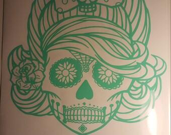 Rockabilly Sugar Skull Decal