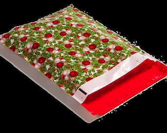 """50 Christmas Poly Mailers 10"""" x 13"""" Perfect for Shipping Holiday Orders"""