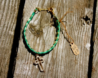 turquoise and gold cross bracelet