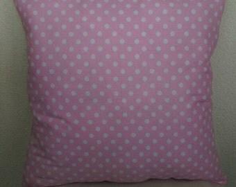 Light Pink Polka Dot Stuffed Throw Pillow-Solid