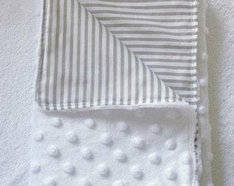 Snuggle Blanket - White & Beige Stripes