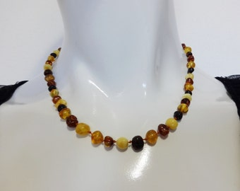 Vintage AMBER Butterscotch Cognac Baltic Beaded Hand-Knotted CHOKER NECKLACE 10.3g
