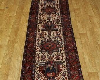 Antique Rare Ivory Hallway Heriz Runner Persian Oriental Area Rug Carpet 3X12