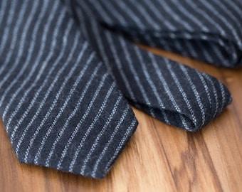 Black Diagonal Pinstripe Wool Tie