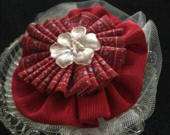 Red Hair Bow, Floral hair bow, hair accessories, hair bow, fabric hair bow, bridal hair bow, hair fashion, girls bow, woman's hair bow